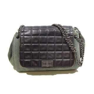 Authentic CHANEL Chocolate Bar Chain Shoulder Bag Handbag Canvas Leather Green