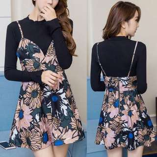 Long Sleeve Ribbed Slim Black Knit Top With Floral Flower Prints Sweet Overall Dress - H638