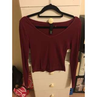 FACTORIE Long Sleeve Crop In Berry