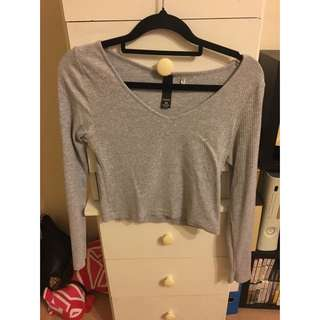 FACTORIE Long Sleeve Crop In Grey