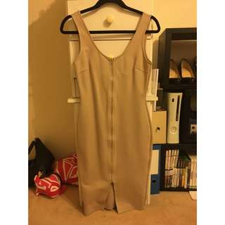 ROSEBULLET Nude Zip Front Dress