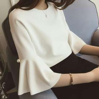 BNIP White Blouse Trumpet Sleeves