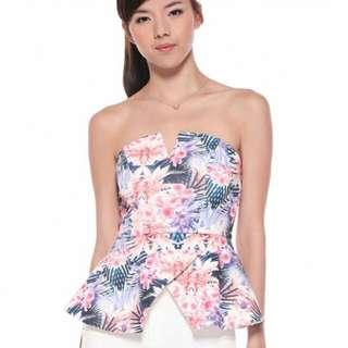 🚚 Love Bonito Farrenda Floral Peplum Bustier Size S
