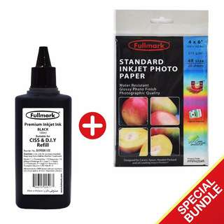 Fullmark Special Bundle, Premium Inkjet Ink, BLACK (100ml-Compatible with BROTHER + Standard Inkjet Photo Paper (4R size)