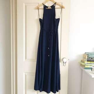 Navy Formal High Neck Slit Maxi Dress