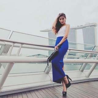 Fashmob Side Slit Maxi Skirt (Indigo Blue)