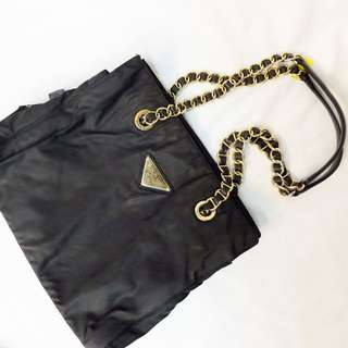Authentic Prada Chain Nylon Shoulder Bag