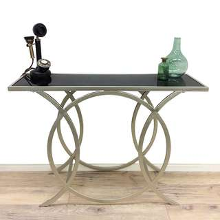 Brand new metal silver console hall table