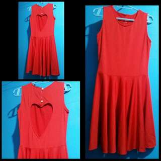 Red Dress Heart Backless