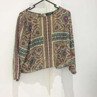 Printed Open Back Blouse