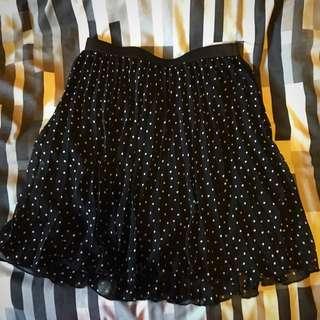 Tokito Pleated Lined Polka Dot Skirt Size 8