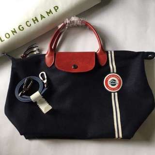 Authentic Longchamp Cocarde Navy Small