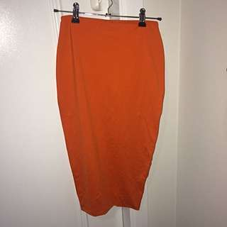 Orange Kookai Bodycon Midi Skirt
