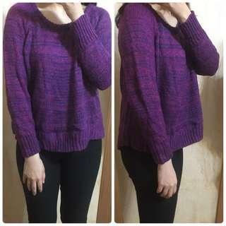 藍紫色 編織毛衣