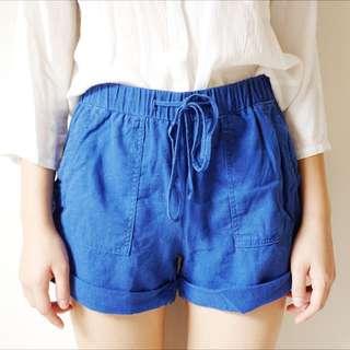 Bright Blue Linen Shorts