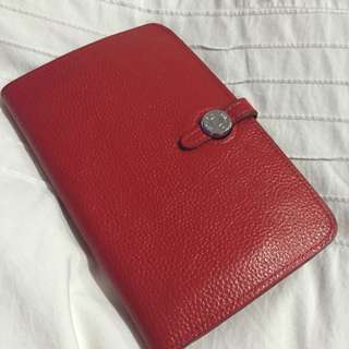 Red Hermes Travel Wallet