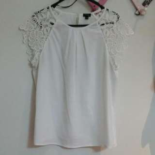 Tokito City White Lace Panelled Blouse - Size 10