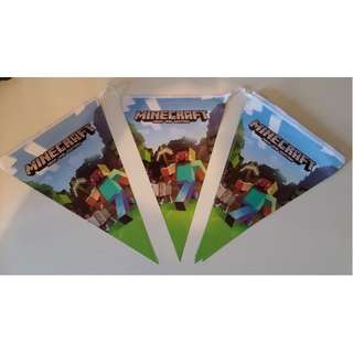 New MInecraft Party Decoration Banner Bunting Flags