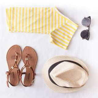 Size S Tempt Striped Yellow V-Neck Top
