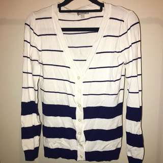 White and Navy Striped Cardigan