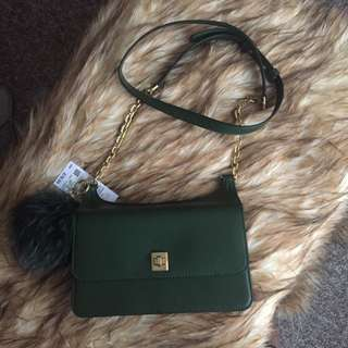 MICHAEL KORS LEATHER CAMO GREEN CROSS-BODY WITH FUR ACCESSORY- NEW!!