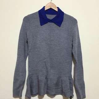全新吊牌未拆 灰色藍領毛衣 針織上衣