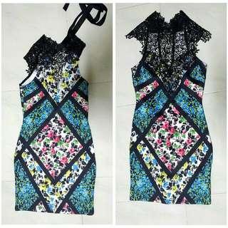 Love Culture Floral Lace Bandeau Dress S
