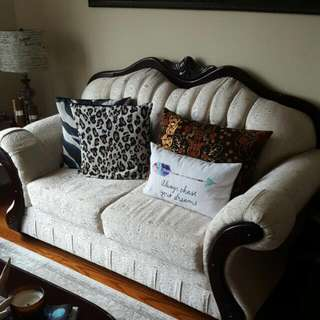 3 Seater, 2 Seater And A 1 Seater Sofa In Perfect Condition Fabric Seats With Wood Trim
