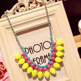 [CLEARANCE] Fluorescence Drop Water Statement Necklace (Yellow)