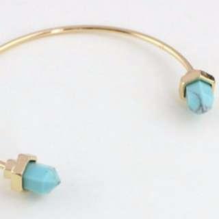 [CLEARANCE] Herxagon Marble Stone Bangle & Bracelets (Blue)