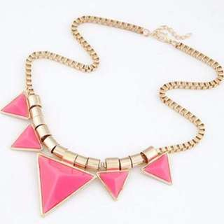 [CLEARANCE] Fluorescence Triangle Statement Necklace (Pink)