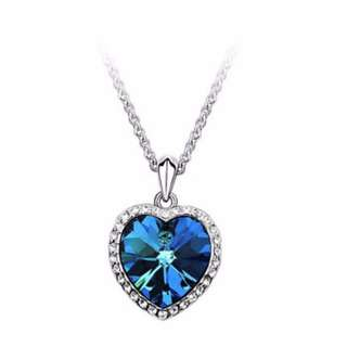 [CLEARANCE] Blue Crystal Heart Necklace
