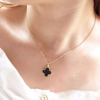 [CLEARANCE] Clover Necklace (Black)