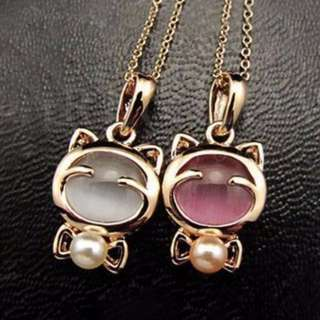 [CLEARANCE] Cute Cat Necklace (Pink Or White)