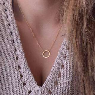 [CLEARANCE] Gold Plated Circle Metal Necklace