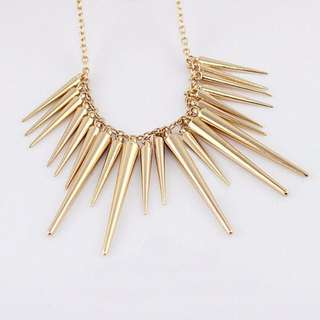 [CLEARANCE] Gold Spike Statement Necklace