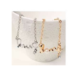 [CLEARANCE] Love Letter Word Necklace ( Gold Or Silver)