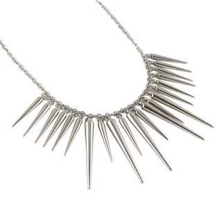 [CLEARANCE] Silver Spike Statement Necklace