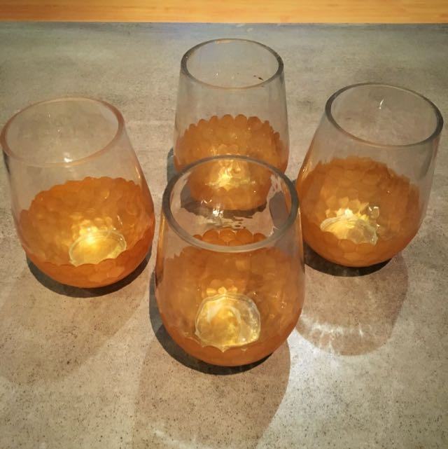 4 Gold Glass Hurricanes / Candle Holders.