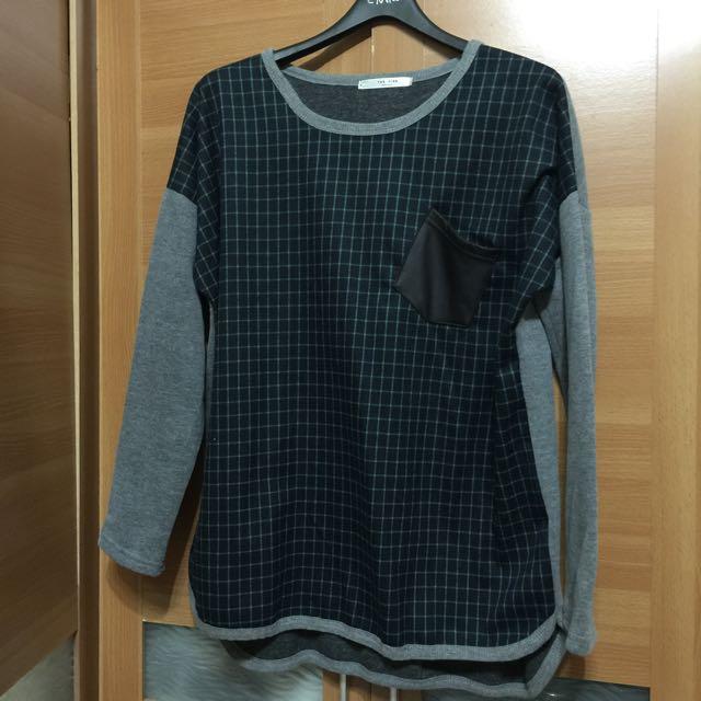 韓國🇰🇷小文青綠格上衣
