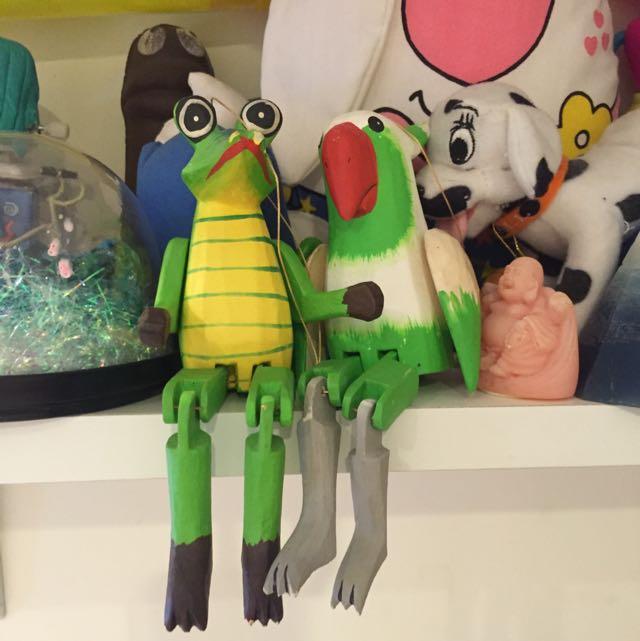 木雕玩具 鱷魚 大嘴鳥 裝飾品