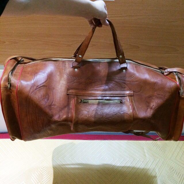 A room model vintage 古董旅行袋 / 大 / 真皮 / 咖啡色 / 古著 / 滾邊 /手提包