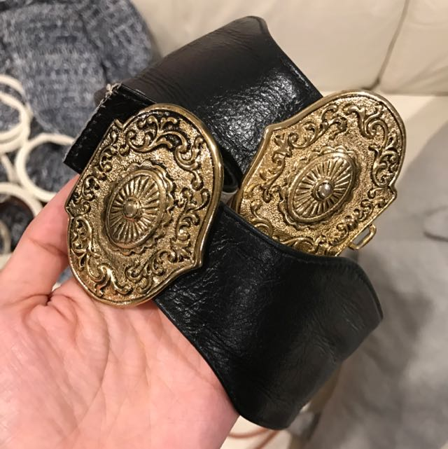 Black Leather Belt With Buckles  Vintage Style