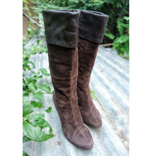 Boots kulit wedges cokelat tua