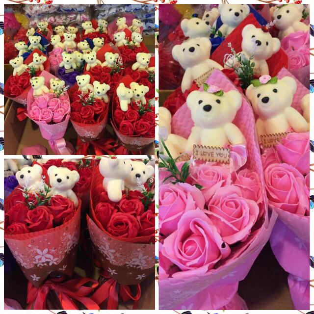 Bouquet Of Soap Flowers With Teddys