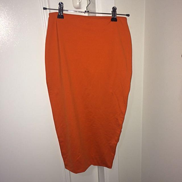 Orange Kookai Bodycon Midi Skirt