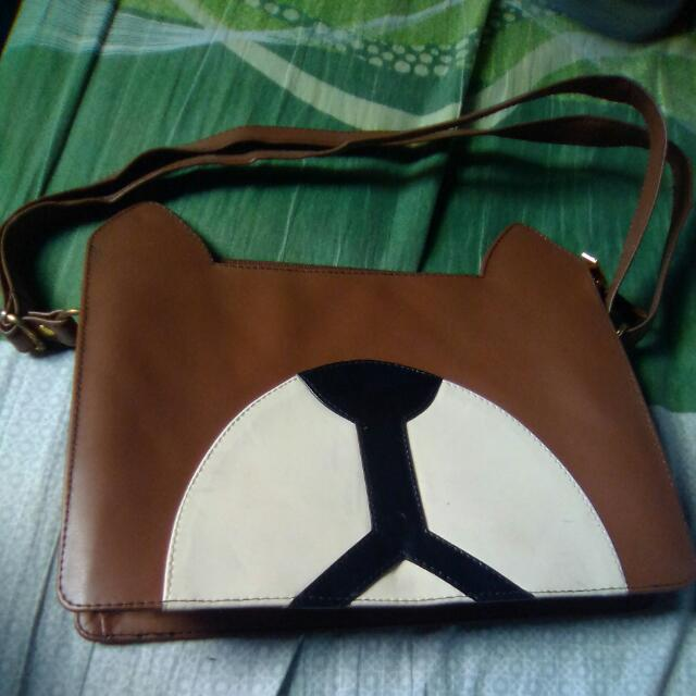 Brown Dog Sling Bag