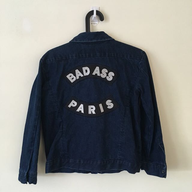 Etre Cecile Bad Ass Paris Denim Jacket Sz M