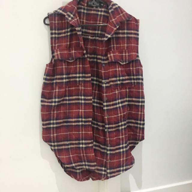 Evil Twin Sleeveless Button Up - Split At Back