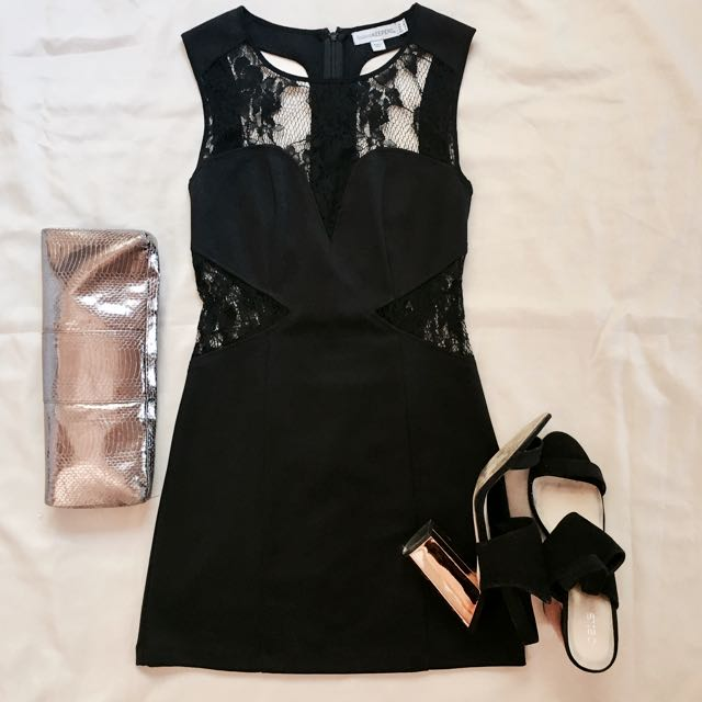 Finders Keepers (size 8)- Little Black Dress W/ Lace Cut-outs